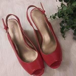 X.APPEAL Patent Coral Peep Toe Wedge Size 8